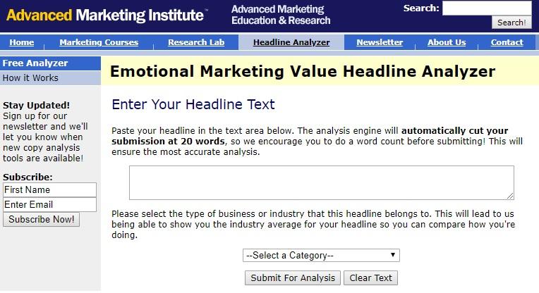 SEO tool: Emotional Headline Analyzer
